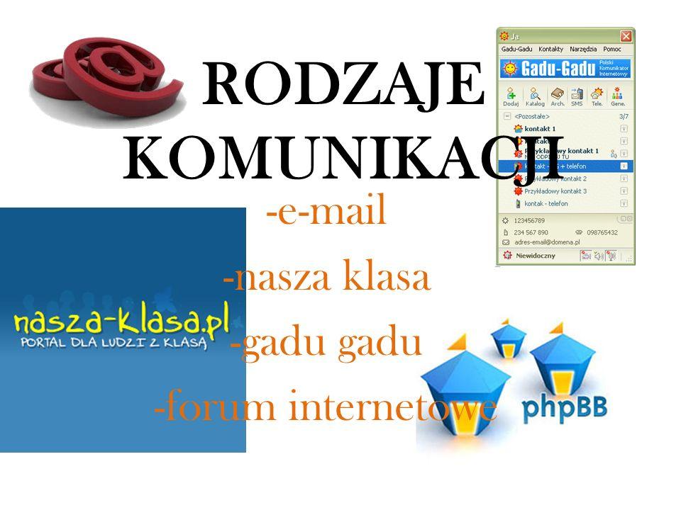 Rodzaje komunikacji -e-mail -nasza klasa -gadu gadu -forum internetowe