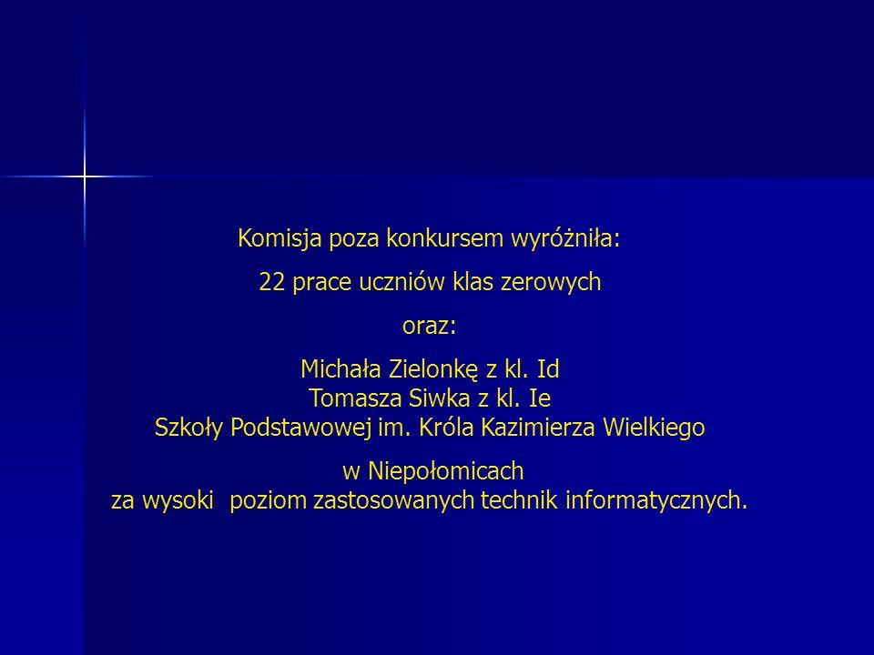 Komisja poza konkursem wyróżniła: 22 prace uczniów klas zerowych oraz: