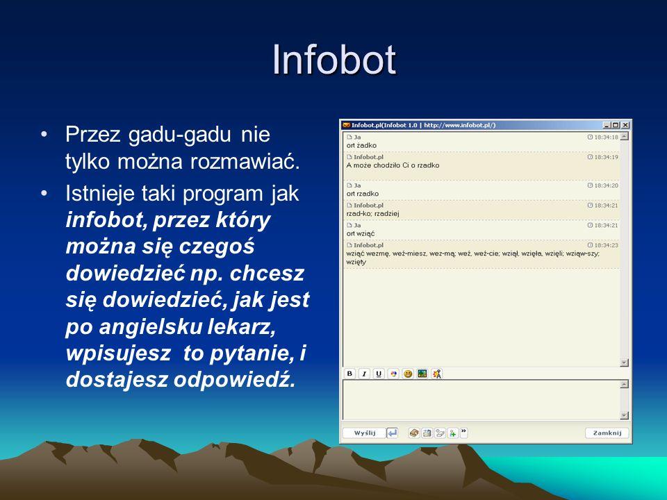 Infobot Przez gadu-gadu nie tylko można rozmawiać.
