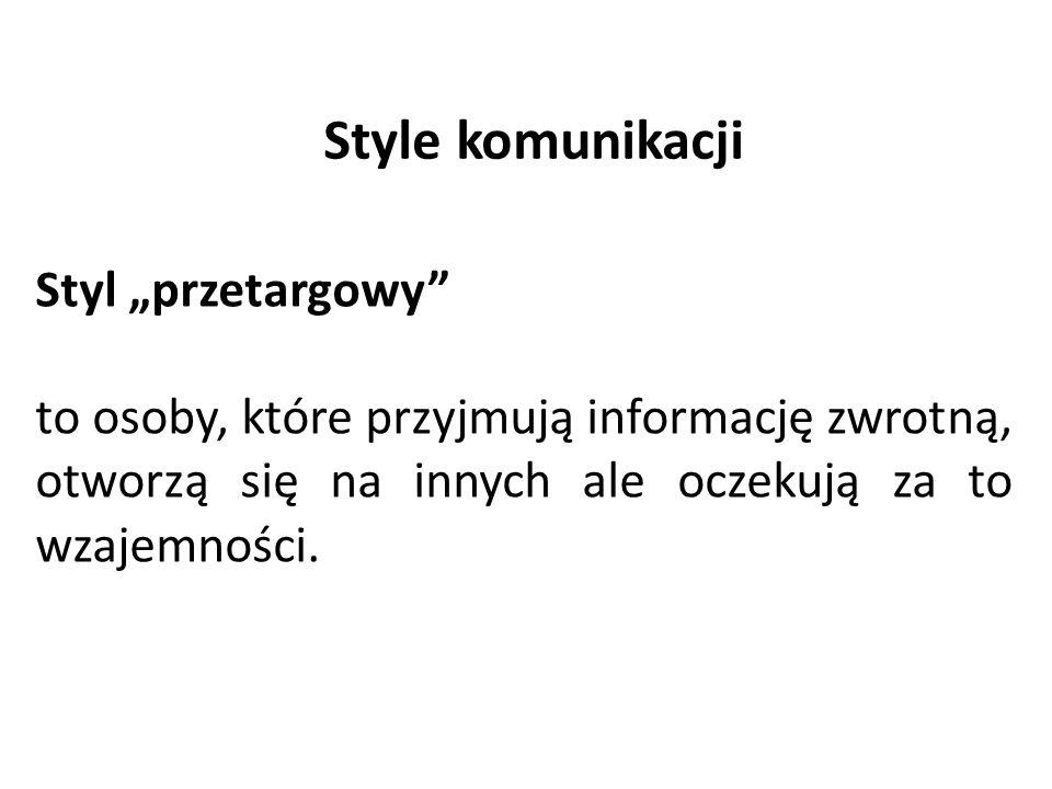 """Style komunikacji Styl """"przetargowy"""