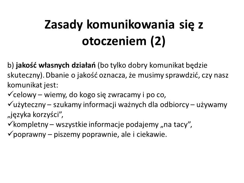 Zasady komunikowania się z otoczeniem (2)