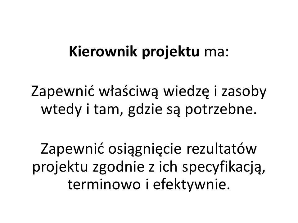 Kierownik projektu ma: