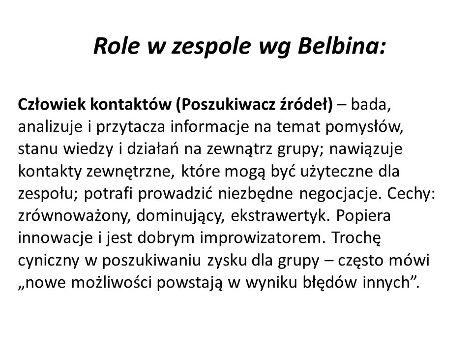 Role w zespole wg Belbina: