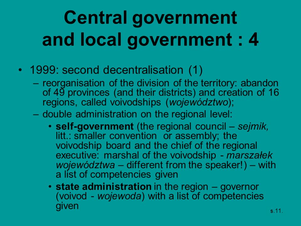 Central government and local government : 4