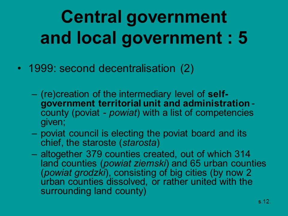 Central government and local government : 5