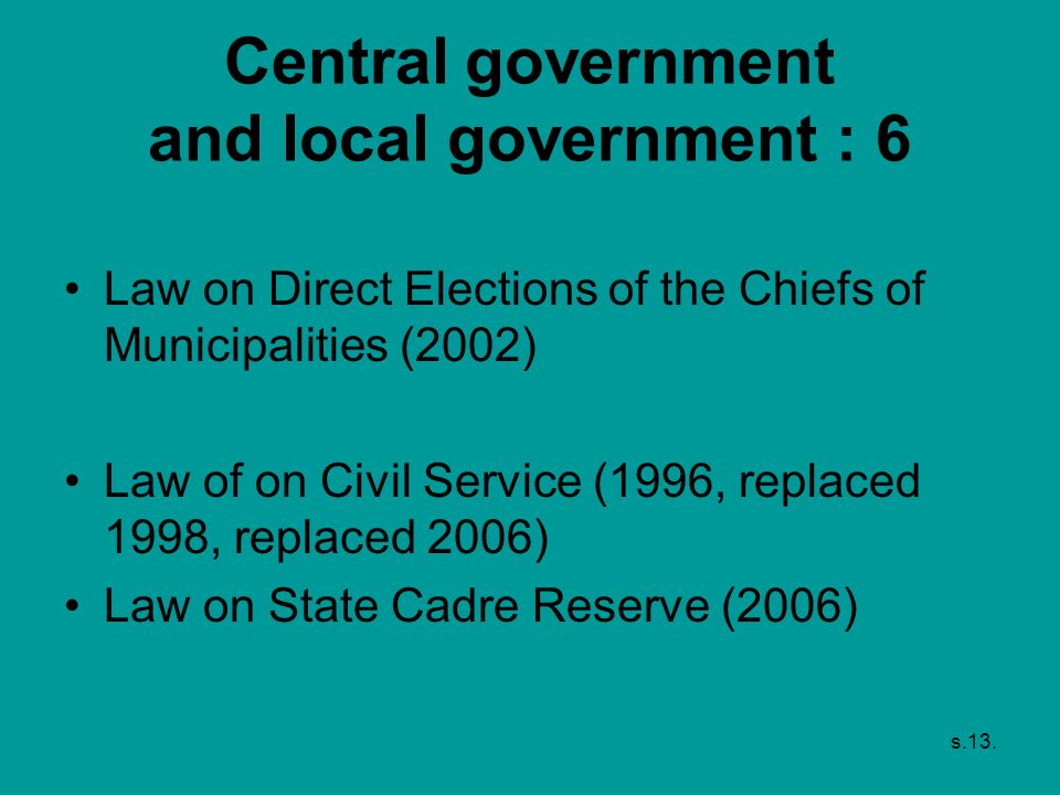 Central government and local government : 6