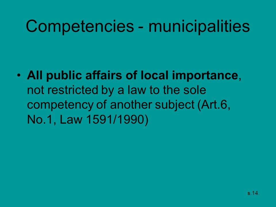 Competencies - municipalities