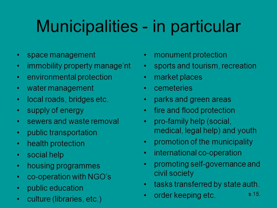 Municipalities - in particular