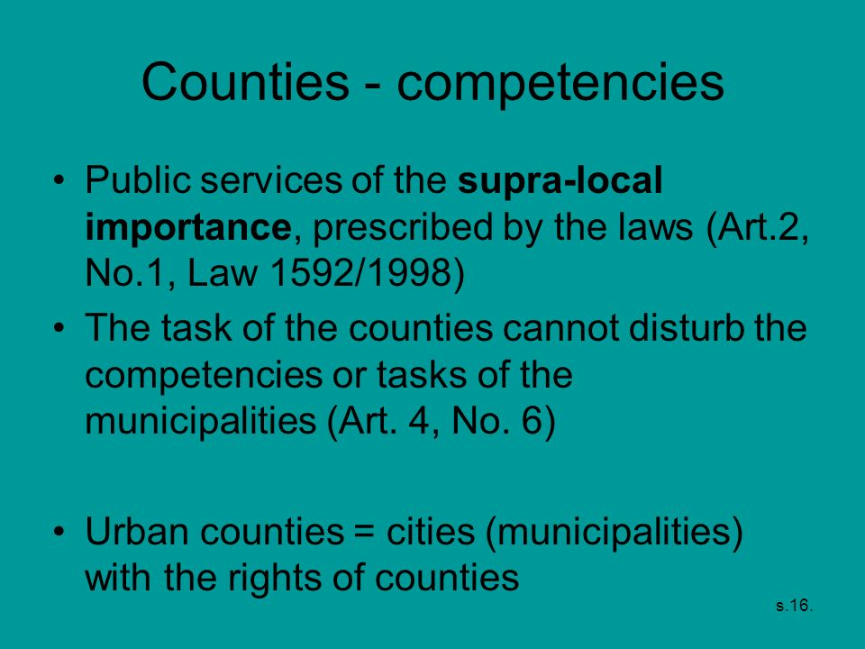 Counties - competencies