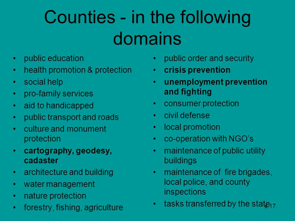 Counties - in the following domains