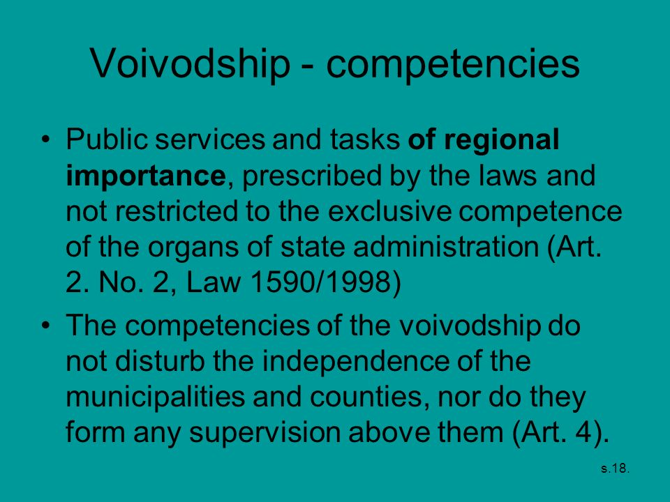 Voivodship - competencies