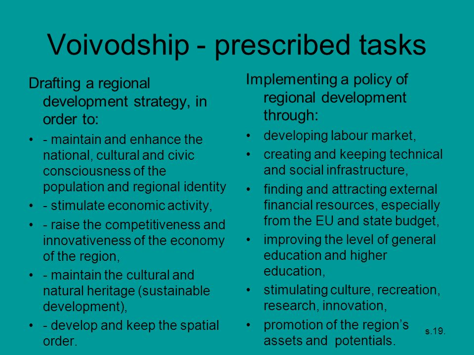 Voivodship - prescribed tasks