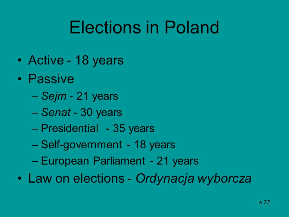 Elections in Poland Active - 18 years Passive