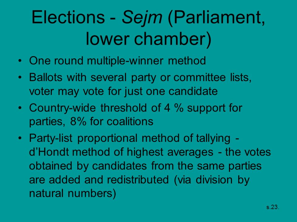Elections - Sejm (Parliament, lower chamber)