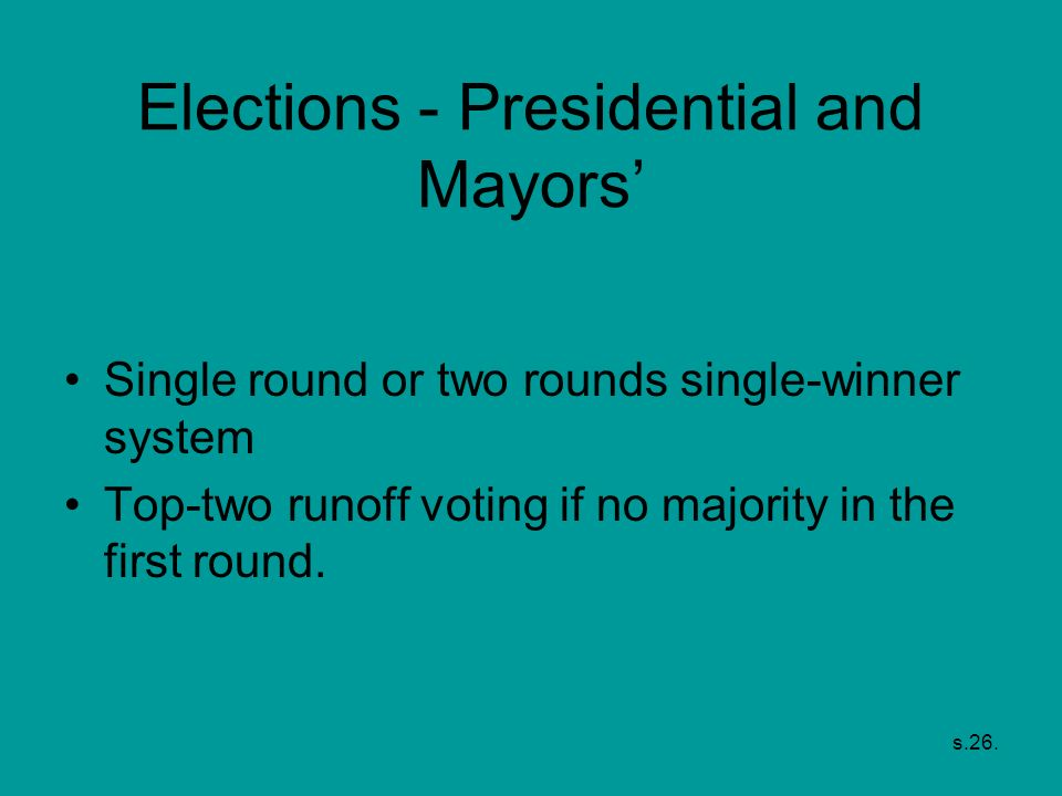Elections - Presidential and Mayors'