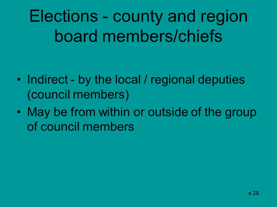 Elections - county and region board members/chiefs