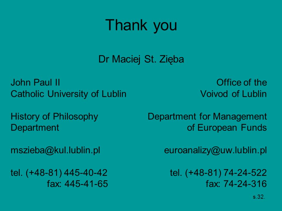 Thank you Dr Maciej St. Zięba