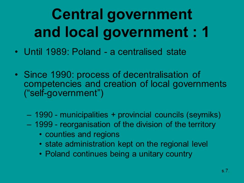 Central government and local government : 1
