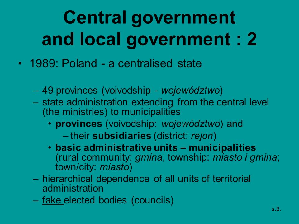 Central government and local government : 2