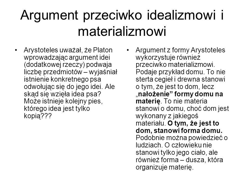 Argument przeciwko idealizmowi i materializmowi