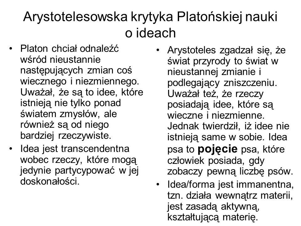 Arystotelesowska krytyka Platońskiej nauki o ideach