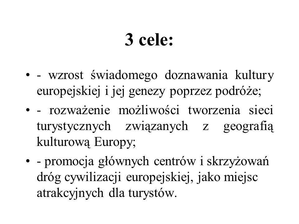 3 cele: - wzrost świadomego doznawania kultury europejskiej i jej genezy poprzez podróże;