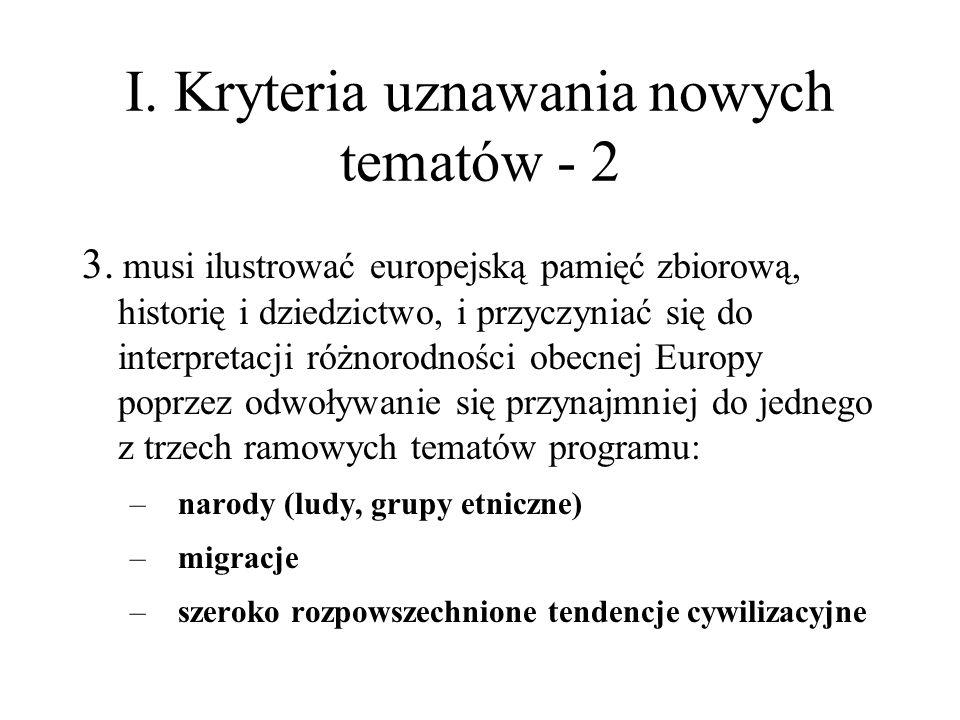 I. Kryteria uznawania nowych tematów - 2