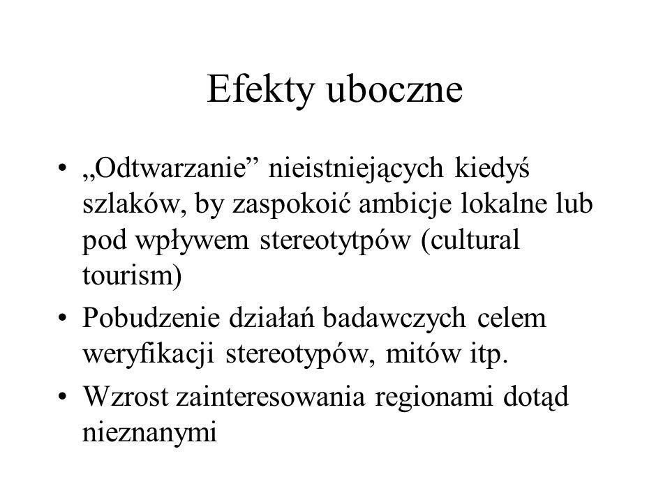 """Efekty uboczne """"Odtwarzanie nieistniejących kiedyś szlaków, by zaspokoić ambicje lokalne lub pod wpływem stereotytpów (cultural tourism)"""