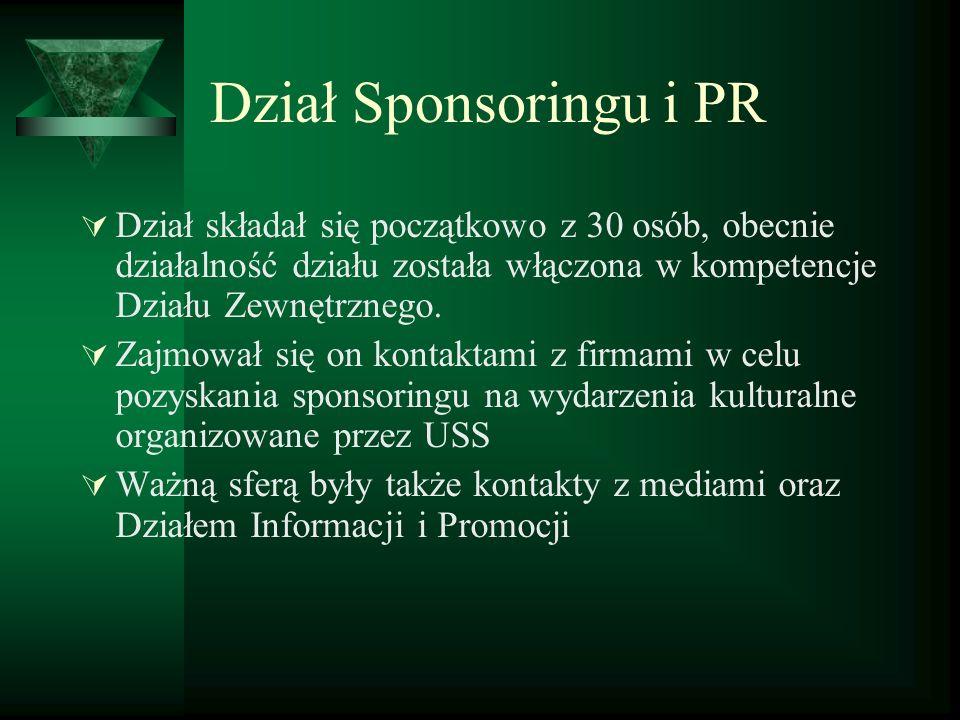 Dział Sponsoringu i PR Dział składał się początkowo z 30 osób, obecnie działalność działu została włączona w kompetencje Działu Zewnętrznego.