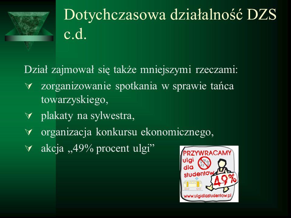 Dotychczasowa działalność DZS c.d.