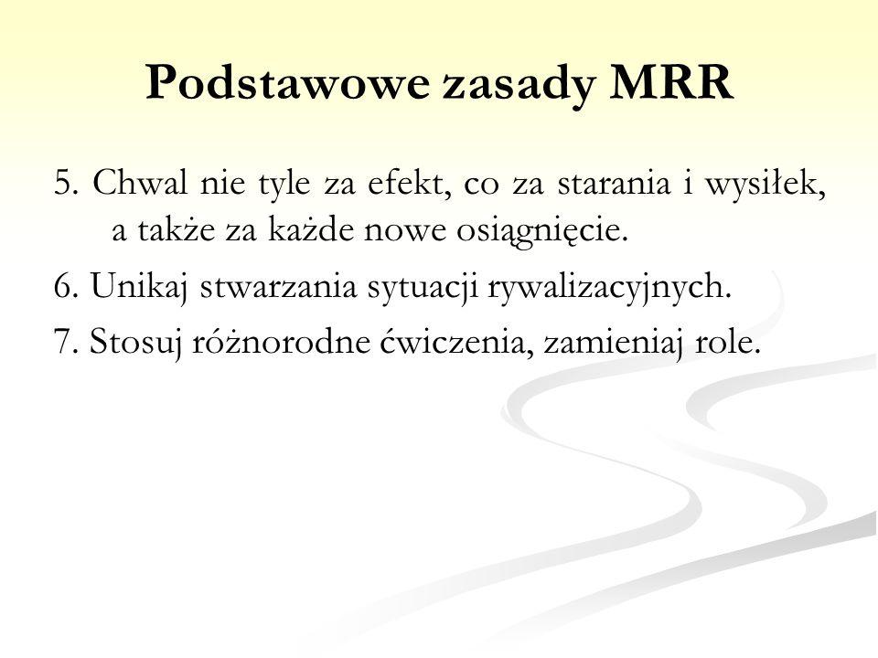 Podstawowe zasady MRR 5. Chwal nie tyle za efekt, co za starania i wysiłek, a także za każde nowe osiągnięcie.