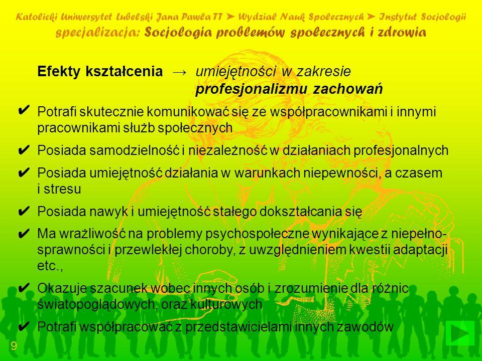 specjalizacja: Socjologia problemów społecznych i zdrowia