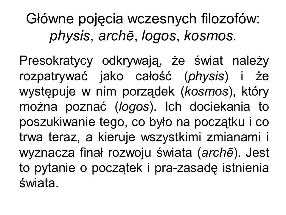 Główne pojęcia wczesnych filozofów: physis, archē, logos, kosmos.