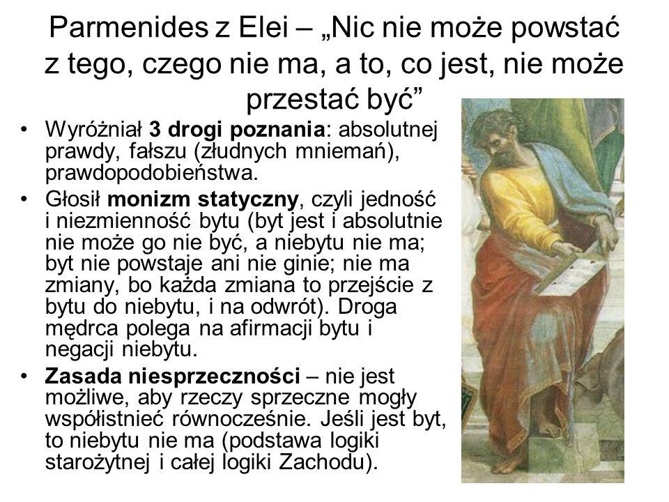 """Parmenides z Elei – """"Nic nie może powstać z tego, czego nie ma, a to, co jest, nie może przestać być"""