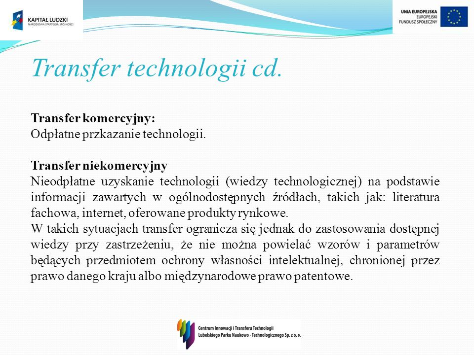Transfer technologii cd.