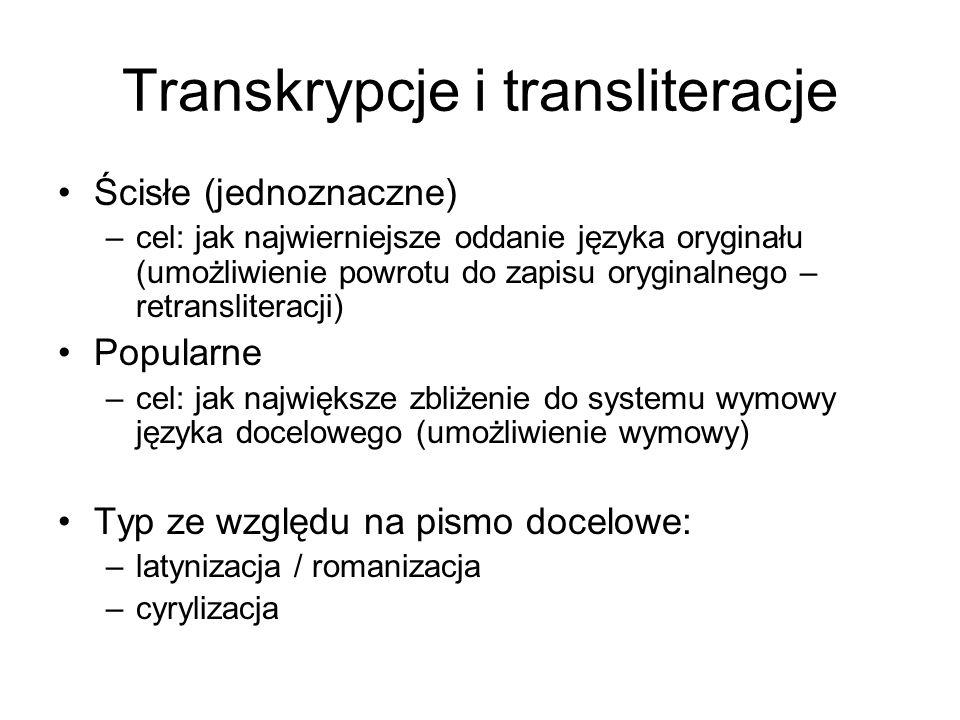 Transkrypcje i transliteracje