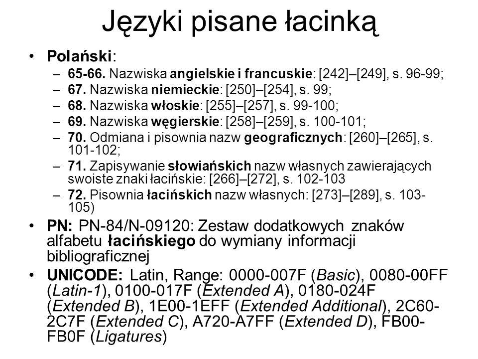 Języki pisane łacinką Polański: