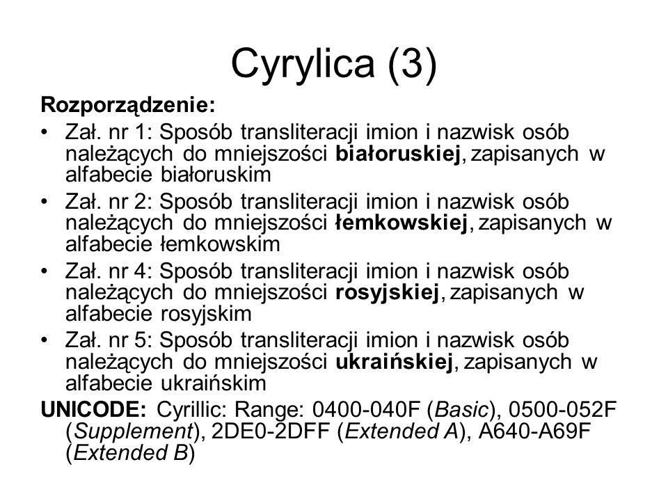 Cyrylica (3) Rozporządzenie: