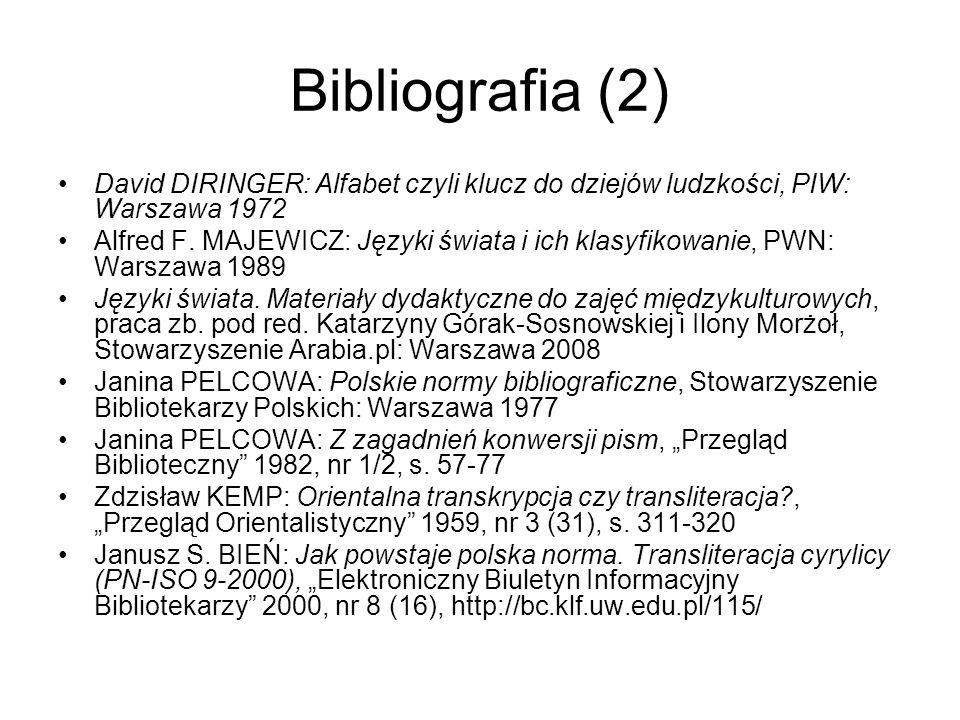 Bibliografia (2) David DIRINGER: Alfabet czyli klucz do dziejów ludzkości, PIW: Warszawa 1972.