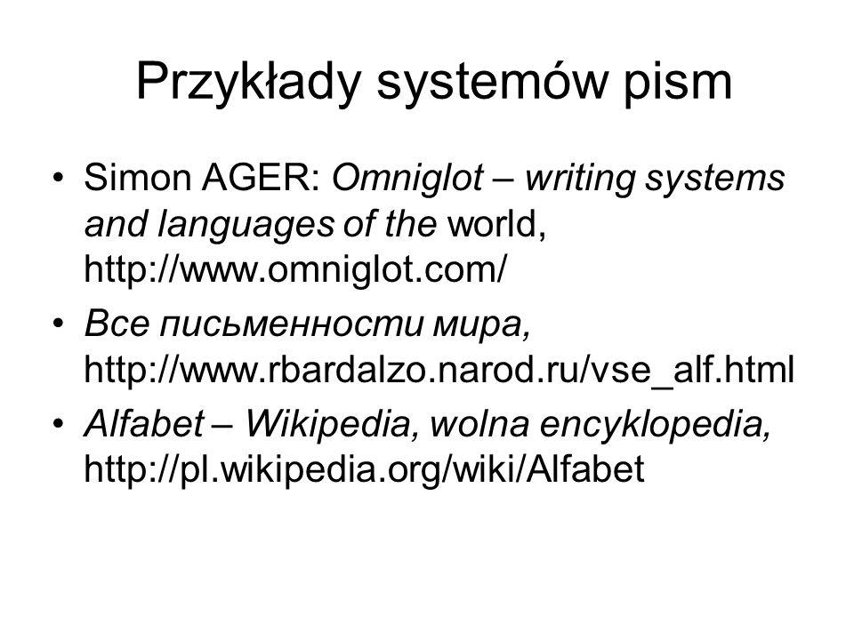 Przykłady systemów pism