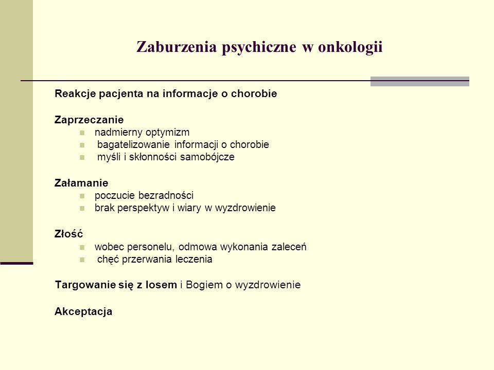 Zaburzenia psychiczne w onkologii