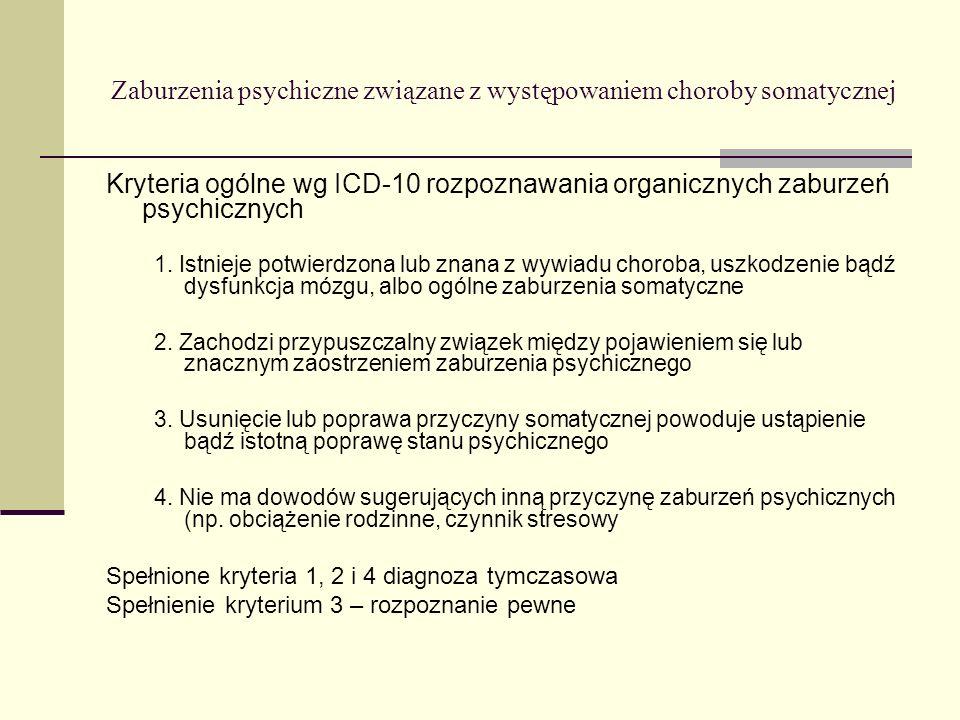 Zaburzenia psychiczne związane z występowaniem choroby somatycznej