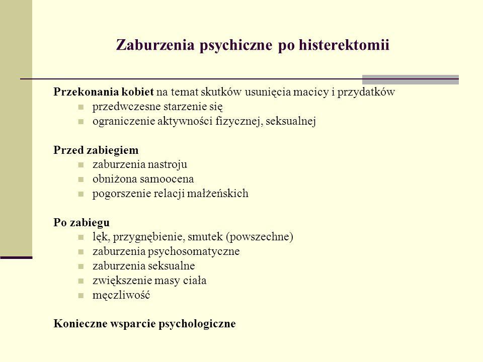 Zaburzenia psychiczne po histerektomii