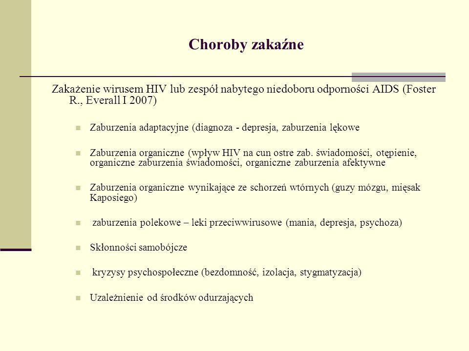 Choroby zakaźne Zakażenie wirusem HIV lub zespół nabytego niedoboru odporności AIDS (Foster R., Everall I 2007)