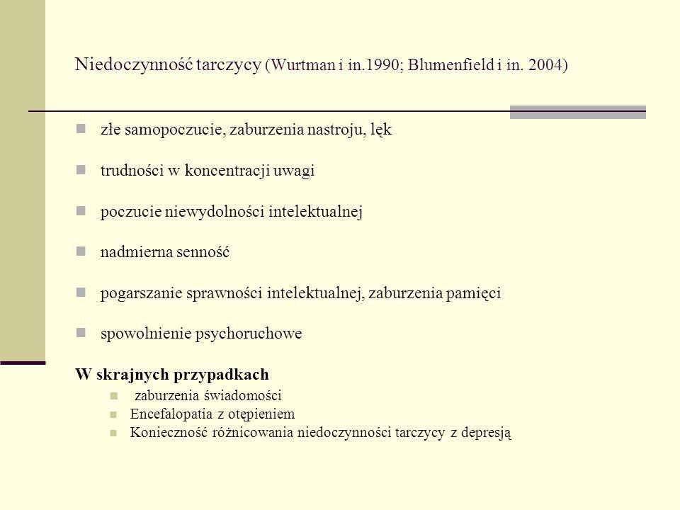 Niedoczynność tarczycy (Wurtman i in.1990; Blumenfield i in. 2004)