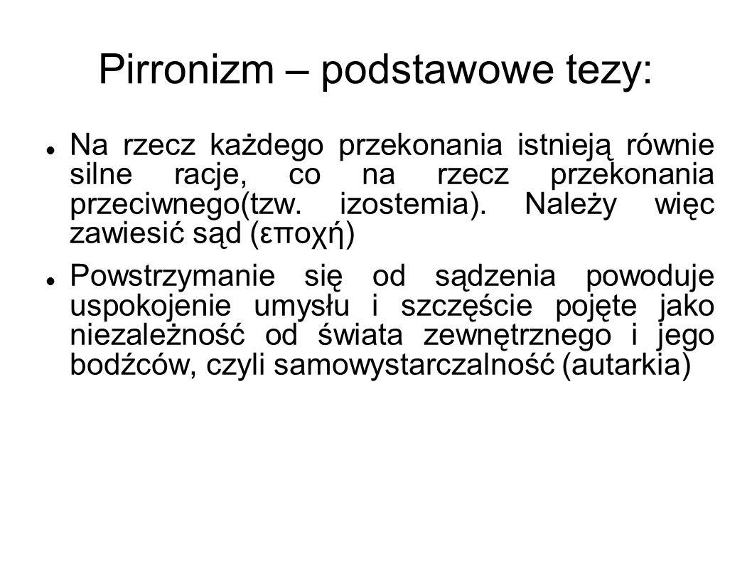 Pirronizm – podstawowe tezy: