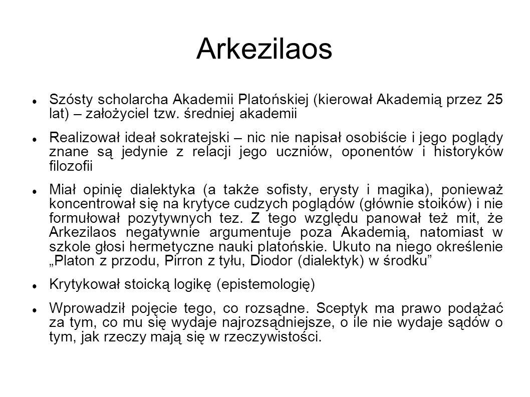 Arkezilaos Szósty scholarcha Akademii Platońskiej (kierował Akademią przez 25 lat) – założyciel tzw. średniej akademii.