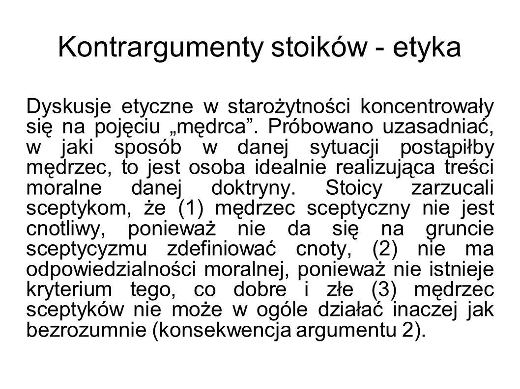 Kontrargumenty stoików - etyka