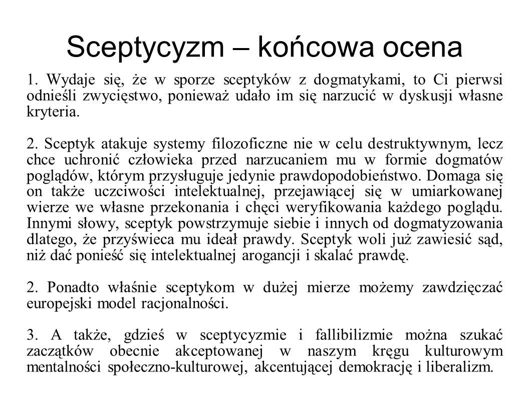 Sceptycyzm – końcowa ocena