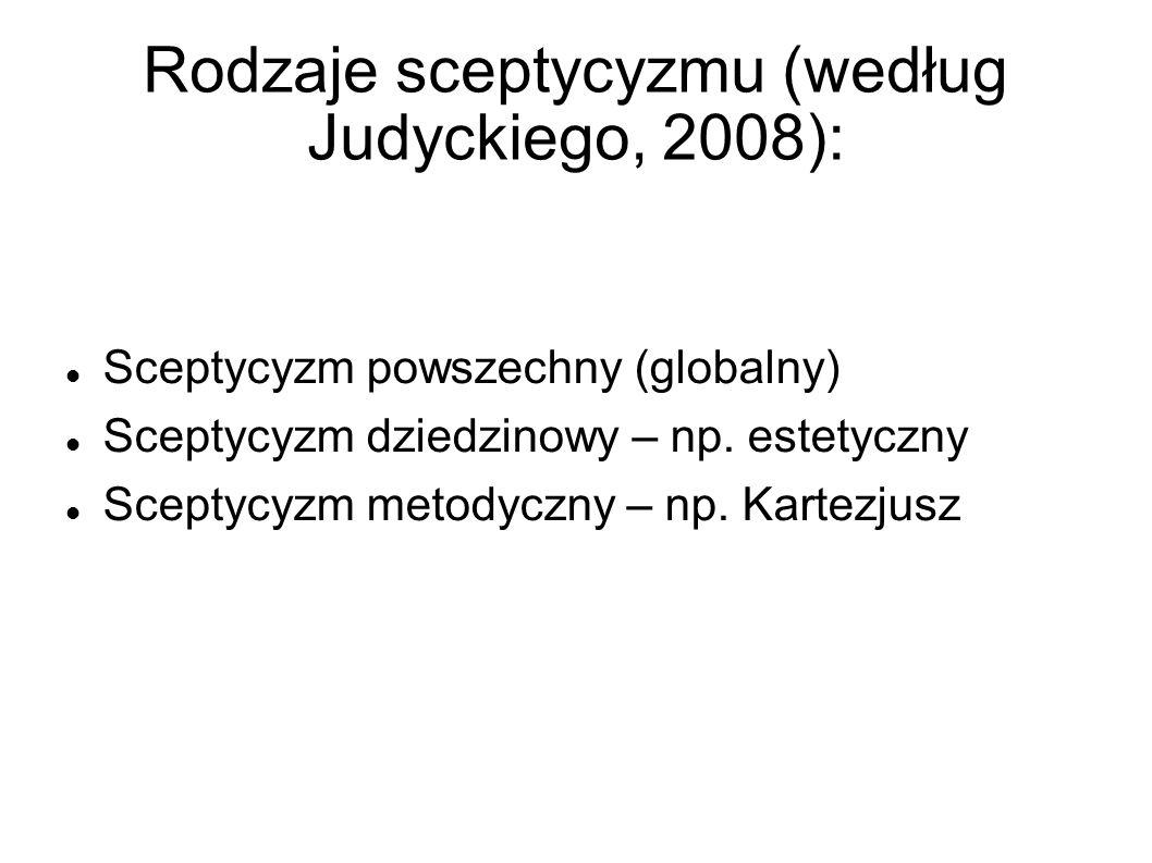 Rodzaje sceptycyzmu (według Judyckiego, 2008):